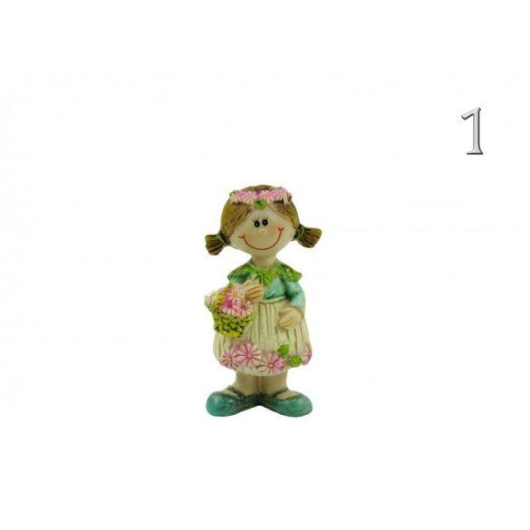 Álló fiú-lány figura, virágos, 8 cm-es