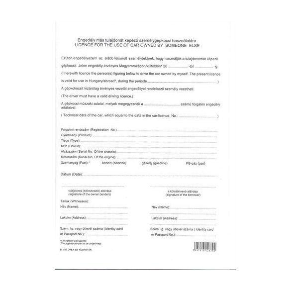 Engedély más tulajdonát képző gépkocsi használatára
