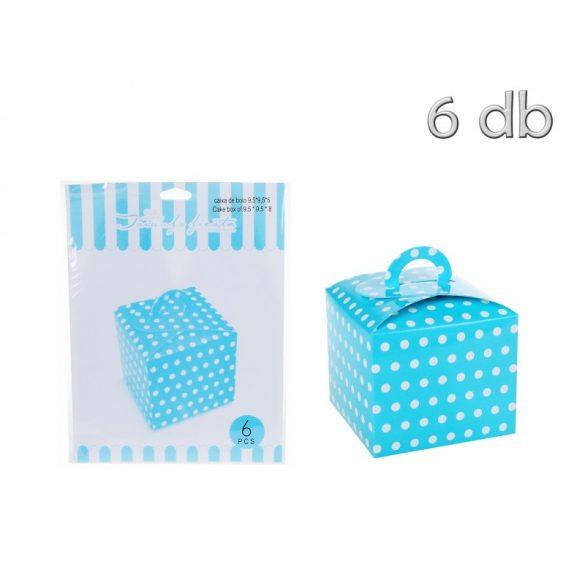 Torta doboz, kék pöttyös, 6 db/cs.
