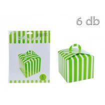 Torta doboz, zöld csíkos, 6 db/cs.