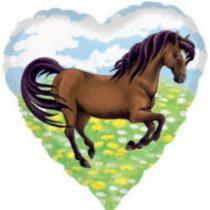 Fólia lufi, szív alakú, barna lovas 43 cm