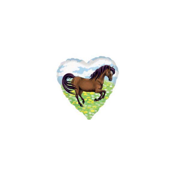 Fólia lufi, szív alakú, barna lovas  - 43 cm