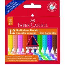 Zsírkréta Faber-Castell Grip radírozható - 12 db-os készlet
