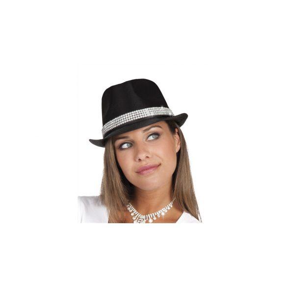 Fekete strasszos kalap