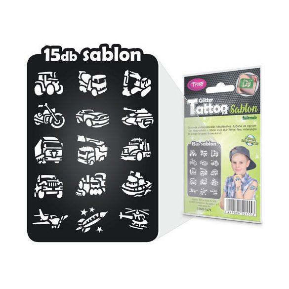 TyToo fiús csillámtetováló sablon szett, 15 db-os