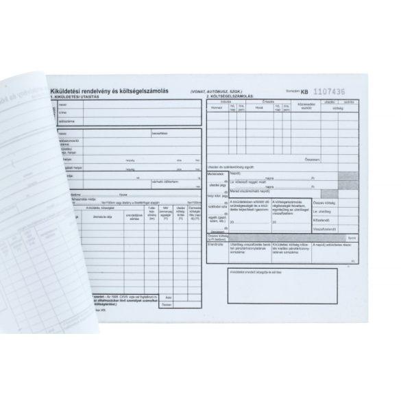 Kiküldetési belföldi rendelvény (utasítás  és költségelszámolás) - 25x4 lapos tömb A5