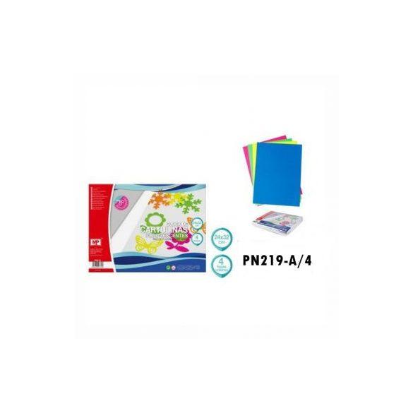 Fluoreszkáló karton A4, 4db./cs.