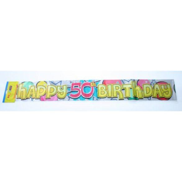 Happy Birthday vagy boldog sz. fólia felirat, 3,6 m, sima vagy évszámos