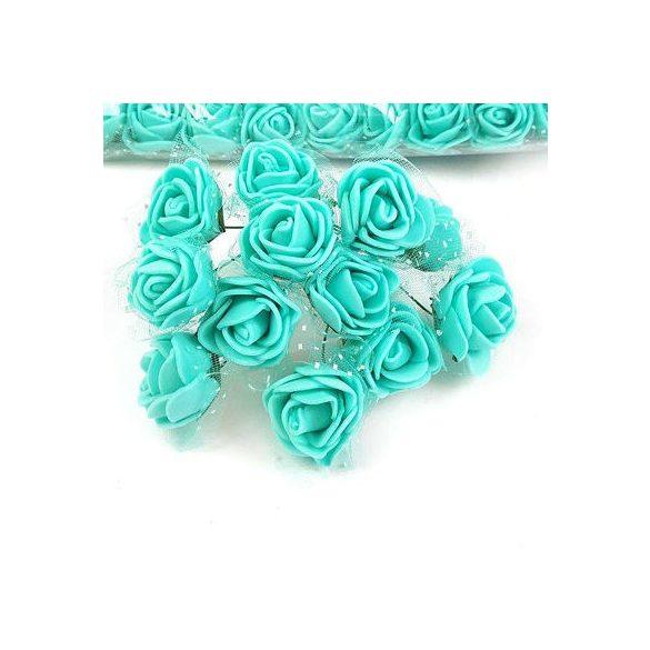 Mini polifoam tüllös rózsa dróttal, 12db/cs