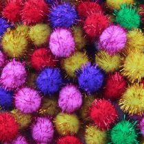 Dekor pompon, glitteres, nagy (3 cm)
