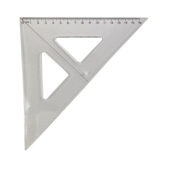 Vonalzó háromszög alakú - 45 fokos, 16cm