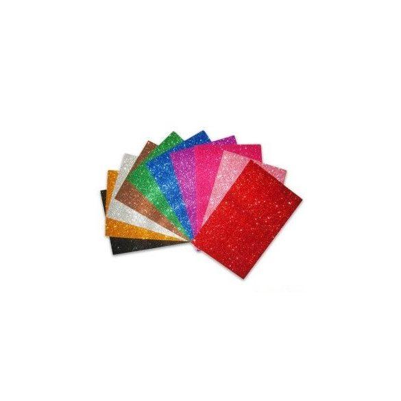 Dekorgumi ÖNTAPADÓS Csillámos A4  - Több színben