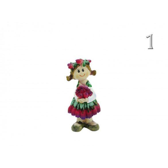 Álló fiú-lány figura, rózsa virágos, 8 cm-es