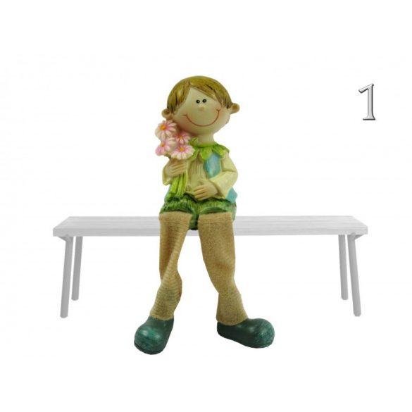 Lógólábú fiú-lány figura, virágos