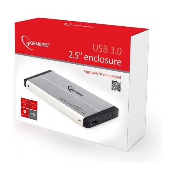 Gembird USB 2,5 külső ház - USB 3.0  Ezüst