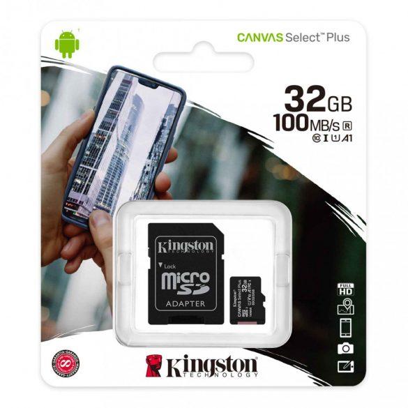 Memóriakártya SDmicro 32Gb Kingston CL10+adapter