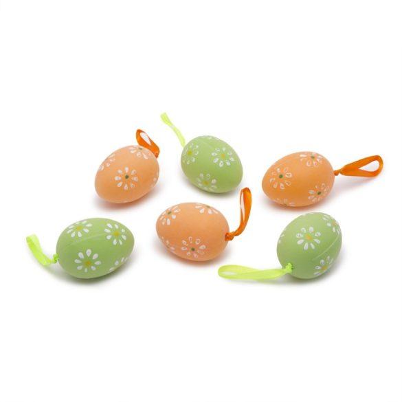 Húsvéti díszített műanyag tojások akasztóval -  6db/cs.