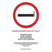 """Akasztós tábla - """"Dohányzásra kijelölt hely"""" felirattal"""
