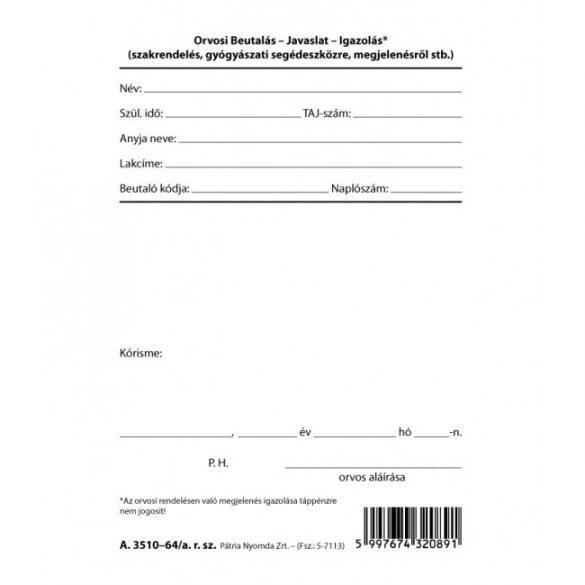 Orvosi beutaló -  A.3510-64/A