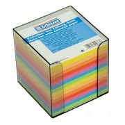 Jegyzettömb 83x83x75 mm, adagolóval, színes