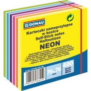 Öntapadós jegyzettömb, 76x76mm, 400 lap, Neon és pasztell színekkel