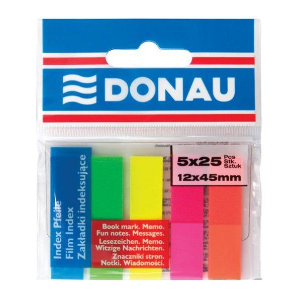 Oldaljelölő DONAU Műanyag 5 neon szín, 5×25db, 12×45mm