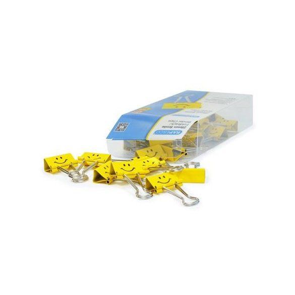 Bindercsipesz, 19 mm - sárga emoji (20 db./doboz)