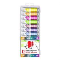 """Tempera készlet ICO """"Süni"""" 12 darabos - metál és neon színek"""
