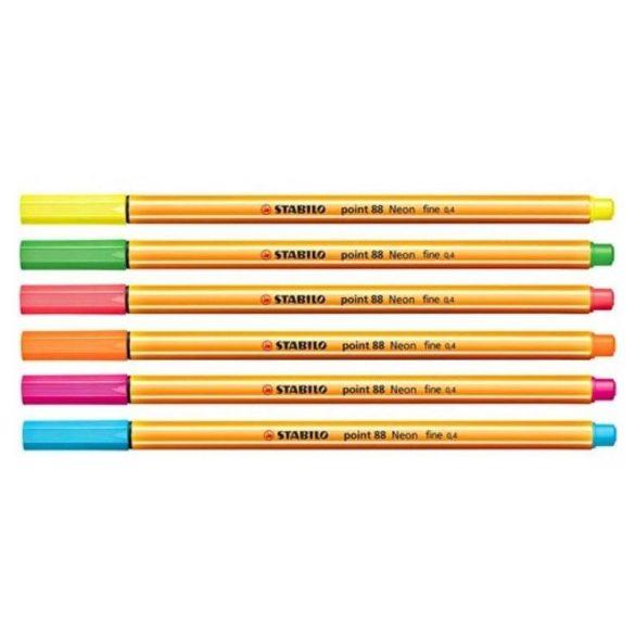 Tűfilc készlet Stabilo 6 db  Neon színekben